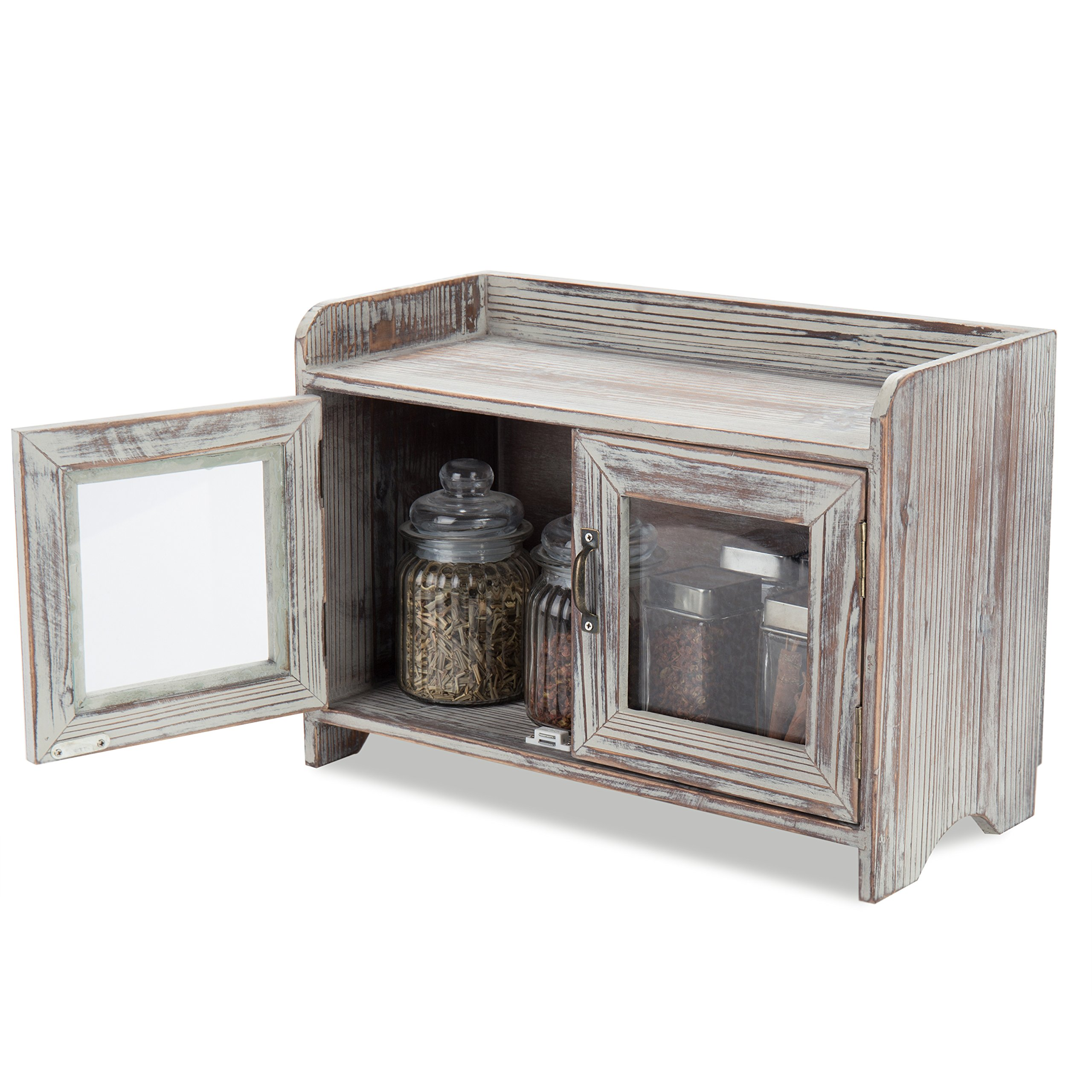 MyGift Rustic Wood Kitchen & Bathroom Countertop Cabinet w/Glass Windows by MyGift