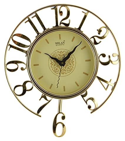 Kangroo 31x5 X31cm Gold Pendulum Decorative Wall Clock