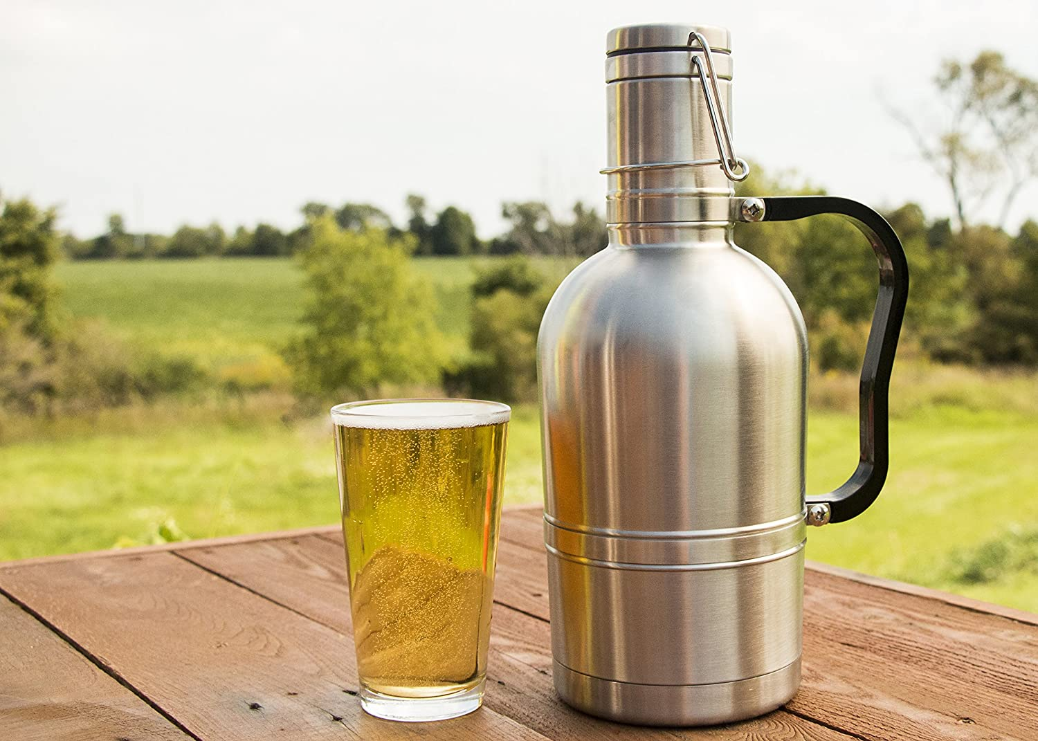 Beer City Glass Growler 64 oz Stainless Steel Vacuum Insulated ...