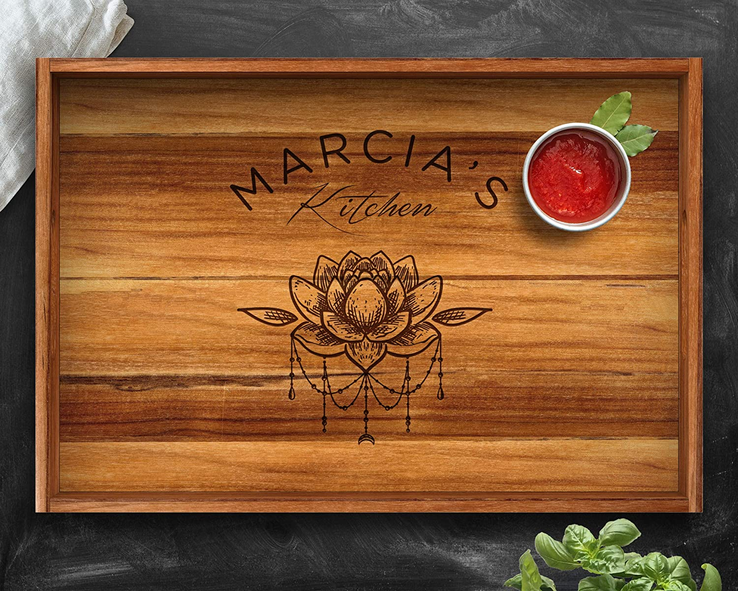 Amazon.com: Yoga Gift, Teak, Tray, Lotus Flower, Yoga Wall ...