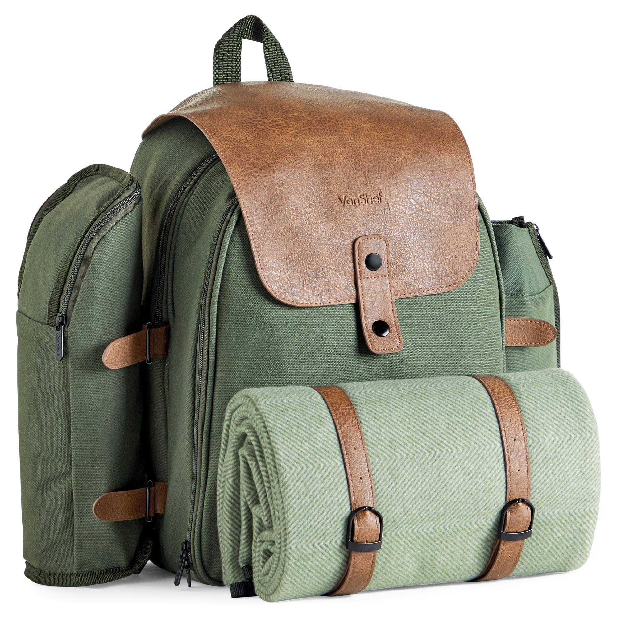 VonShef Large Picnic Backpack for 4 with Insulated Cooler Compartment - Picnic Set with Stainless Steel Cutlery, Picnic Blanket, Removable Bottle Holder and Wine Carrier - Green Adventure Backpack by VonShef