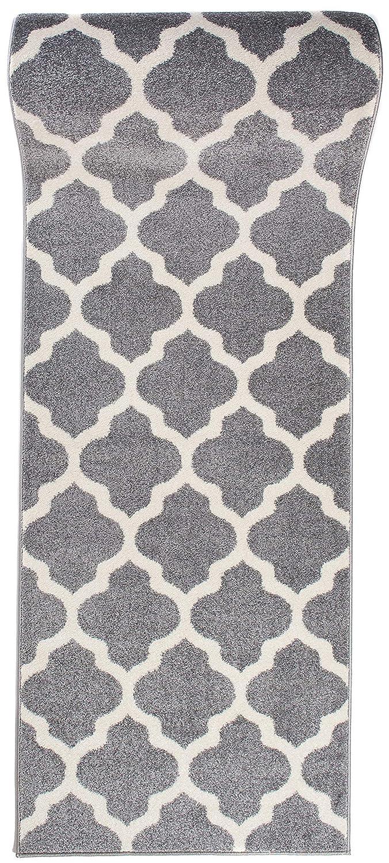 WE LOVE RUGS CARPETO Läufer Teppich Brücke Teppichläufer - Orientalisches Marokkanische - Flur Modern Designer Muster Meterware - Casablanca Kollektion von Carpeto - Grau Weiß - 60 x 425 cm