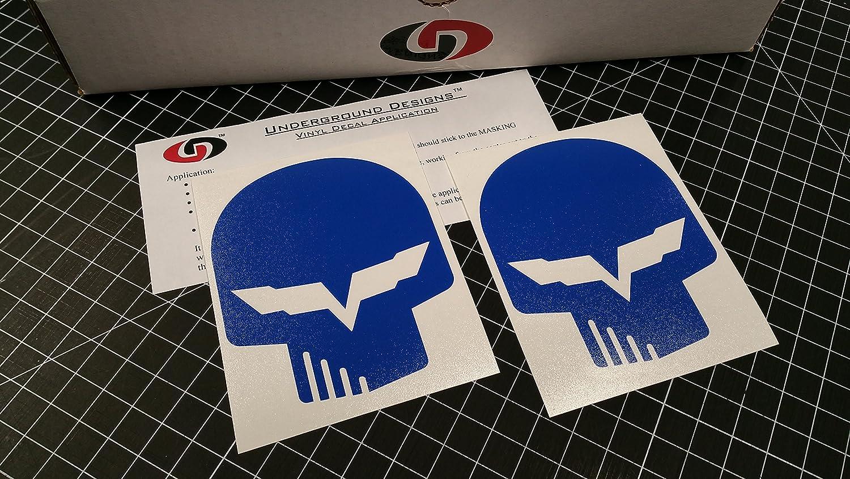 Amazon com corvette jake skull decal racing flag sticker ls1 ls6 ls2 ls3 ls7 lsx select color gloss blue automotive