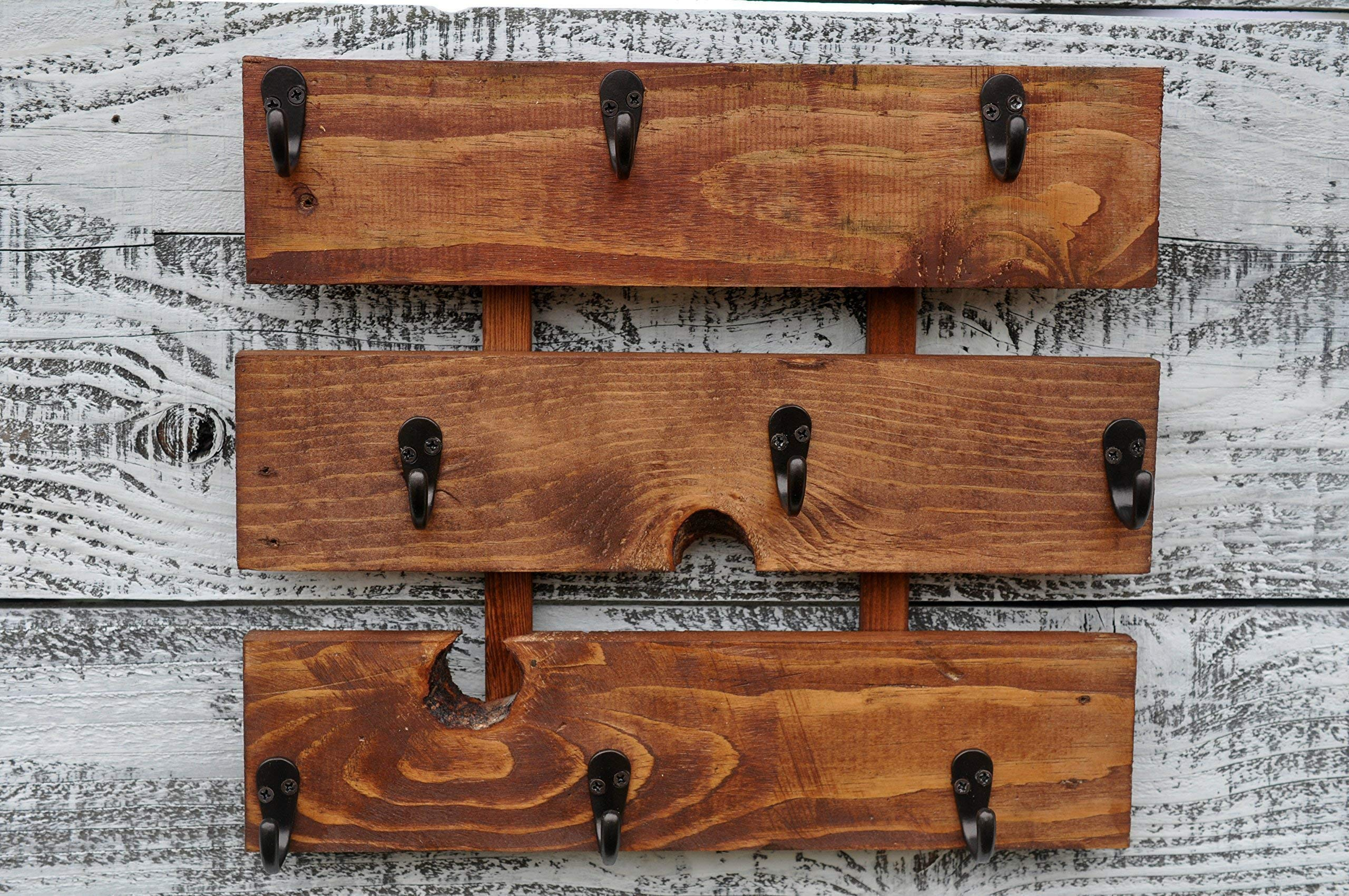 Rustic Wood Coffee Cup Rack Mug Holder Wall Mounted Kitchen Storage by Reclaimed Oregon