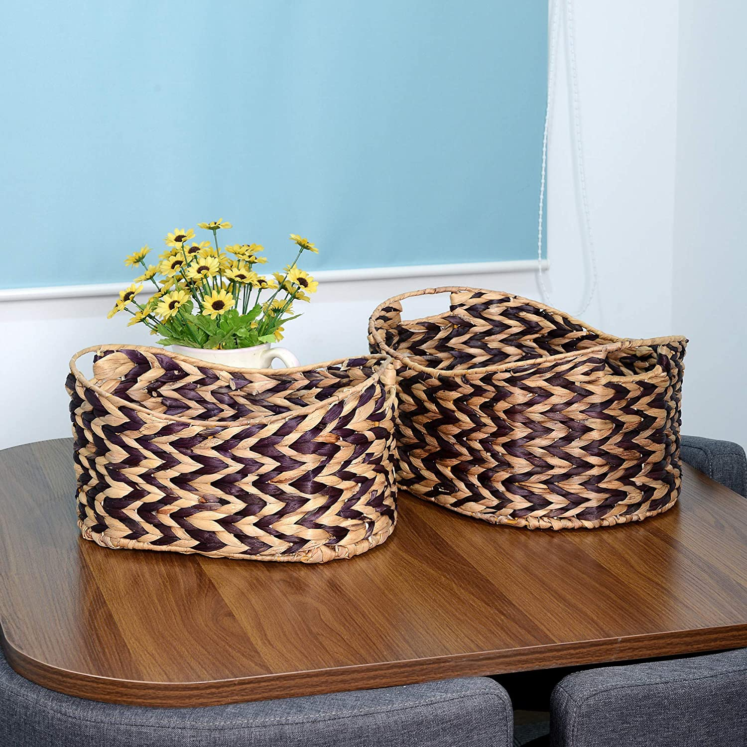 Villacera Bernard Handmade Wicker Water Hyacinth Oval Nesting Baskets Braided in Brown and Natural Seagrass Set of 2