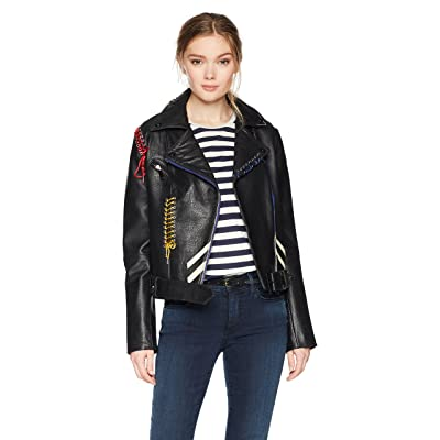 Bagatelle Women's Picasso Textured Leather Biker Jacket at Women's Coats Shop
