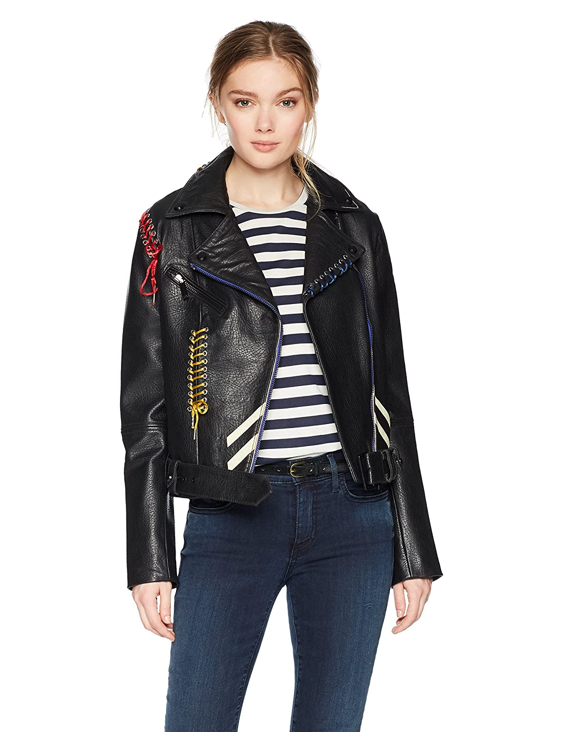 Black Bagatelle Women's Picasso Textured Leather Biker Jacket