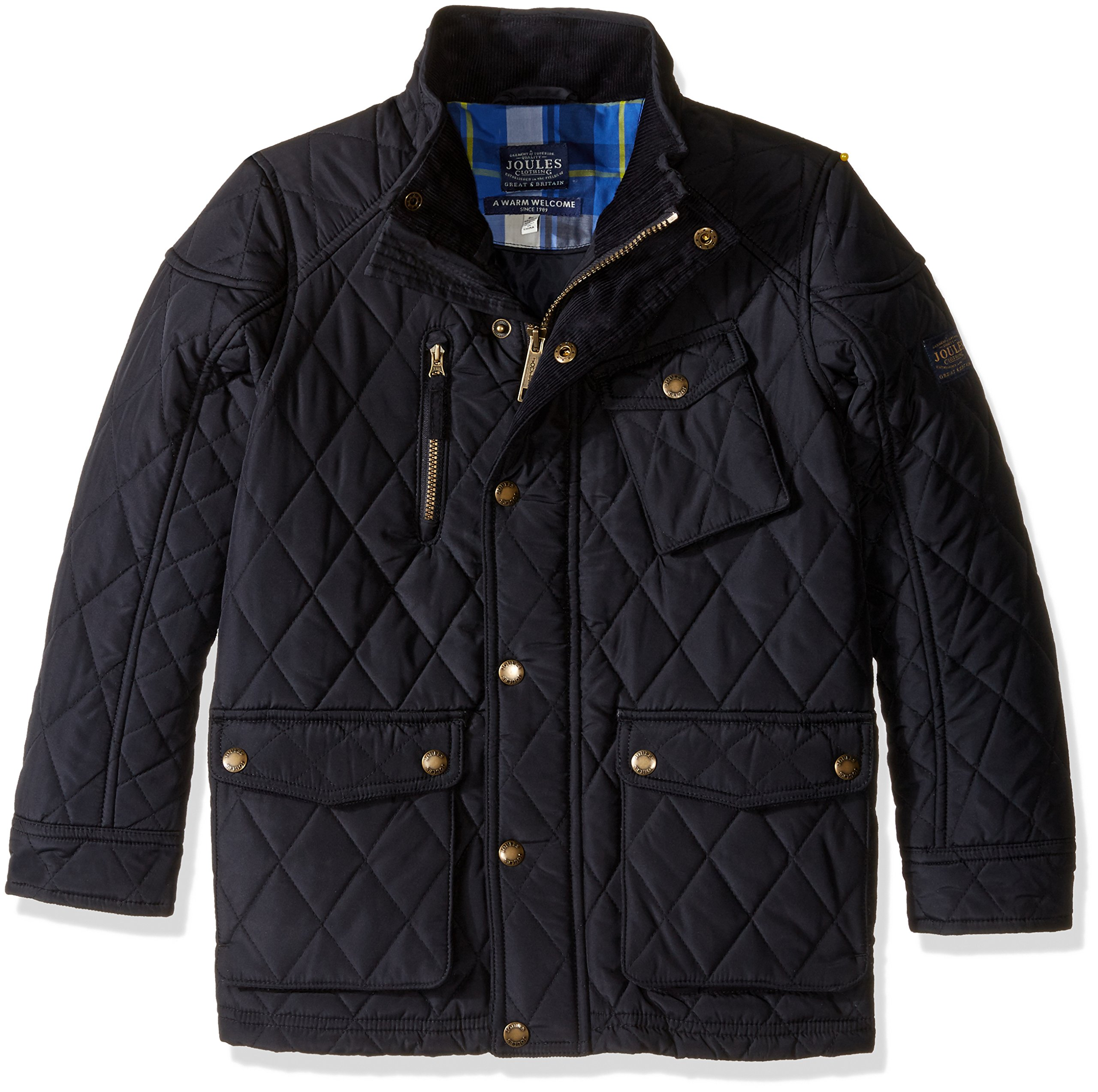 Joules Little Boys' Stafford Quilted Coat, Marine Navy, 7