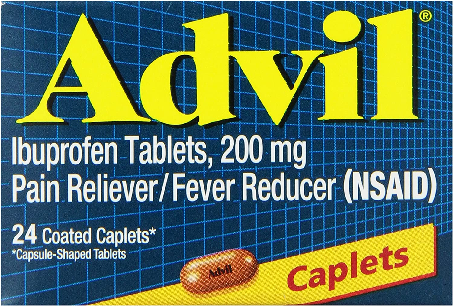 Advil Coated Caplets Pain Reliever and Fever Reducer, Ibuprofen 200mg, 24 Count, Fast-Acting Formula for Headache Relief, Toothache Pain Relief and Arthritis Pain Relief