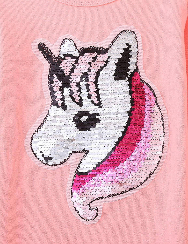 Bricnat M/ädchen T-Shirt Wende Pailletten Einhorn Kurzarm Tunika und Unicorn Langarmshirt Herbst Bluse Rundhals Top Casual Sommer