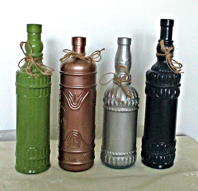 Glass Bottles and Jars Mantel Toppers Shabby Upcycled Vintage Bottles Window Displays Painted Bottles Light Filters Eclectic