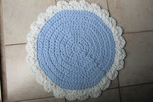 Washable Throw Rug, Crocheted Round Mat with Scalloped Trim, , 24 inch diameter – Many Color Choices