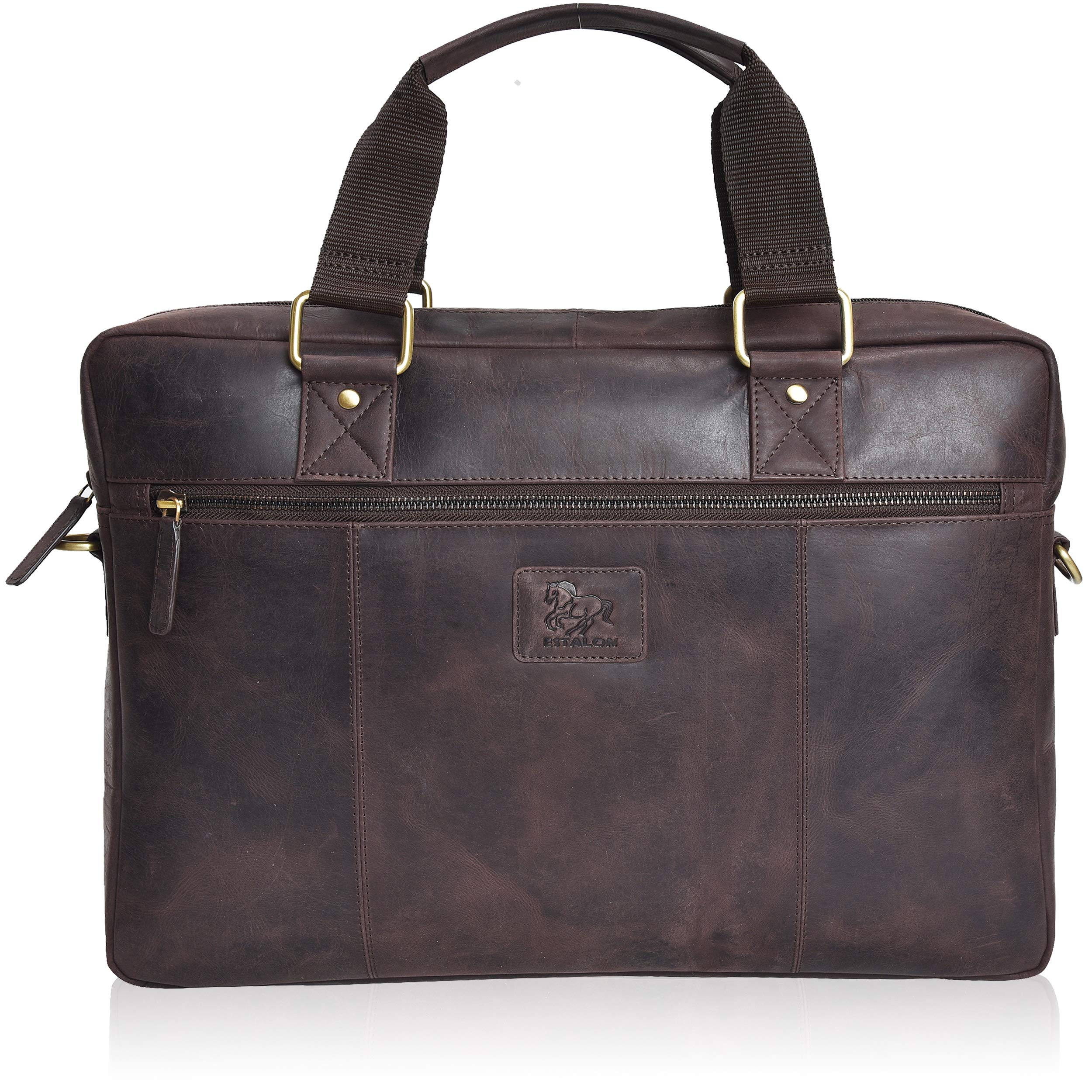 Laptop Leather Messenger Bag for Men - Premium Office Briefcase 15'' Vintage Rustic Side Brown Business Case Satchel Bags