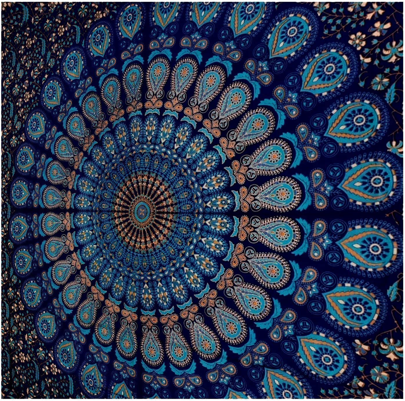 Amazon Com Globus Choice Inc Blue Twin Mandala Tapestry Wall Hanging Indian Cotton Tapestries Bedspread Picnic Beach Throw Blanket Wall Art Hippie Tapestry Home Kitchen