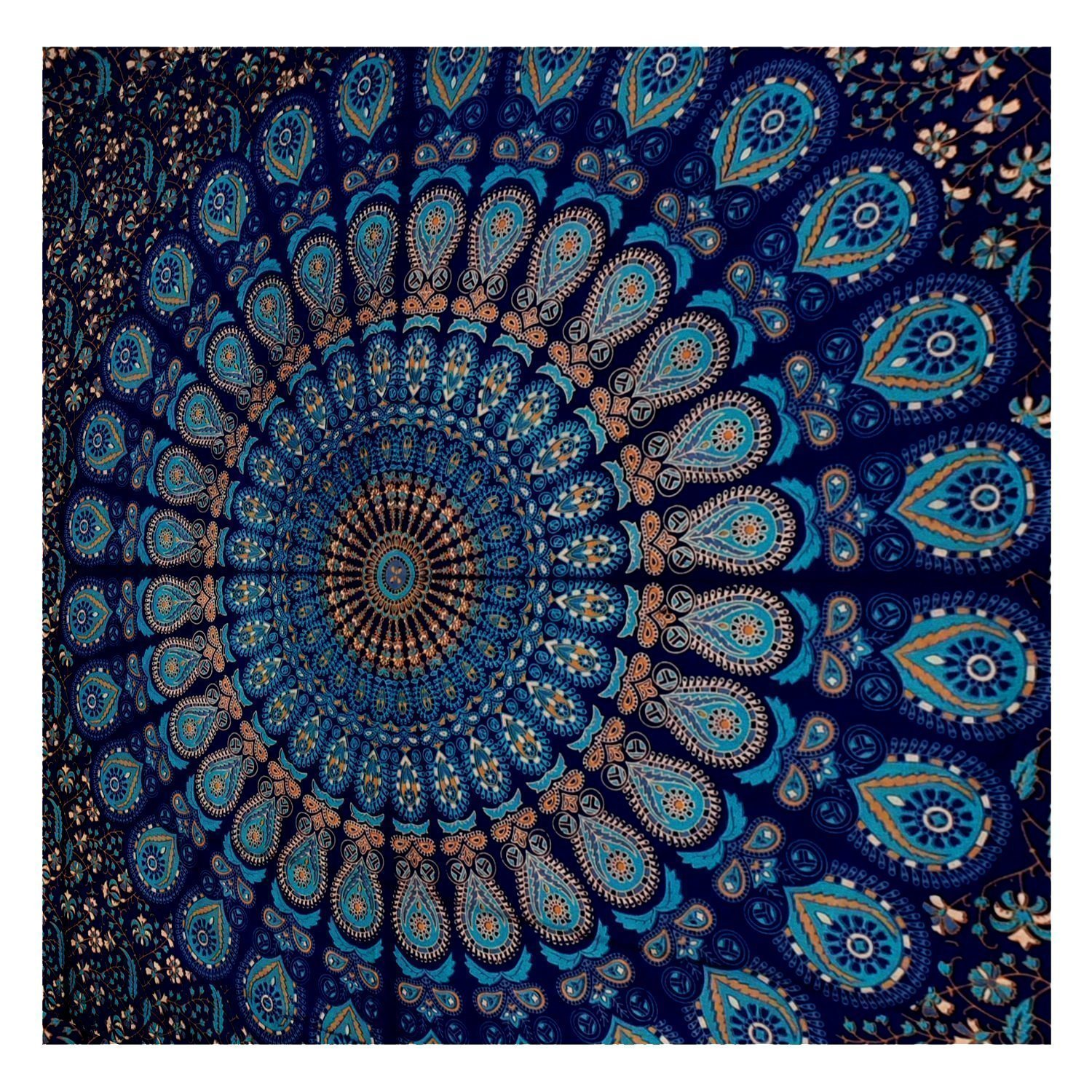 GLOBUS CHOICE INC.. Blue Tapestry Wall Hanging Mandala Tapestries Indian Cotton Bedspread Picnic Bedsheet Blanket Wall Art Hippie Tapestry by GLOBUS CHOICE INC.