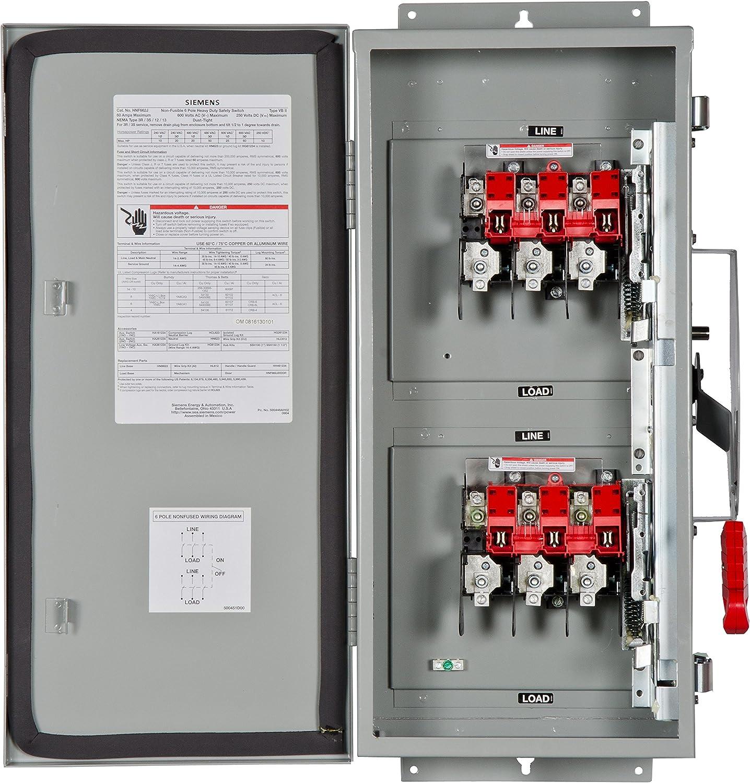 HI Siemens HNF662J 60-Amp 6P 600-volt 6W Non-Fused Heavy Duty Safety Switches Siemens