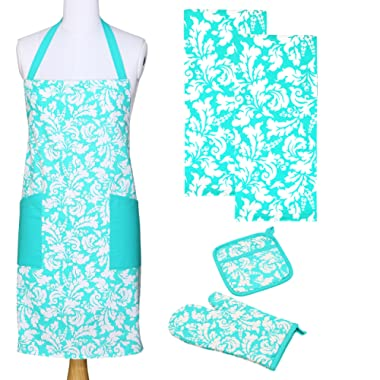 Yourtablecloth Kitchen Gift Set-1 Kitchen Apron, an Oven Mitt & A Pot Holder-2 Kitchen Dish Towels or Tea Towels-Ideal Cooking Gifts or Gift Ideas for Chefs-Suitable for Men & Women-Turquoise