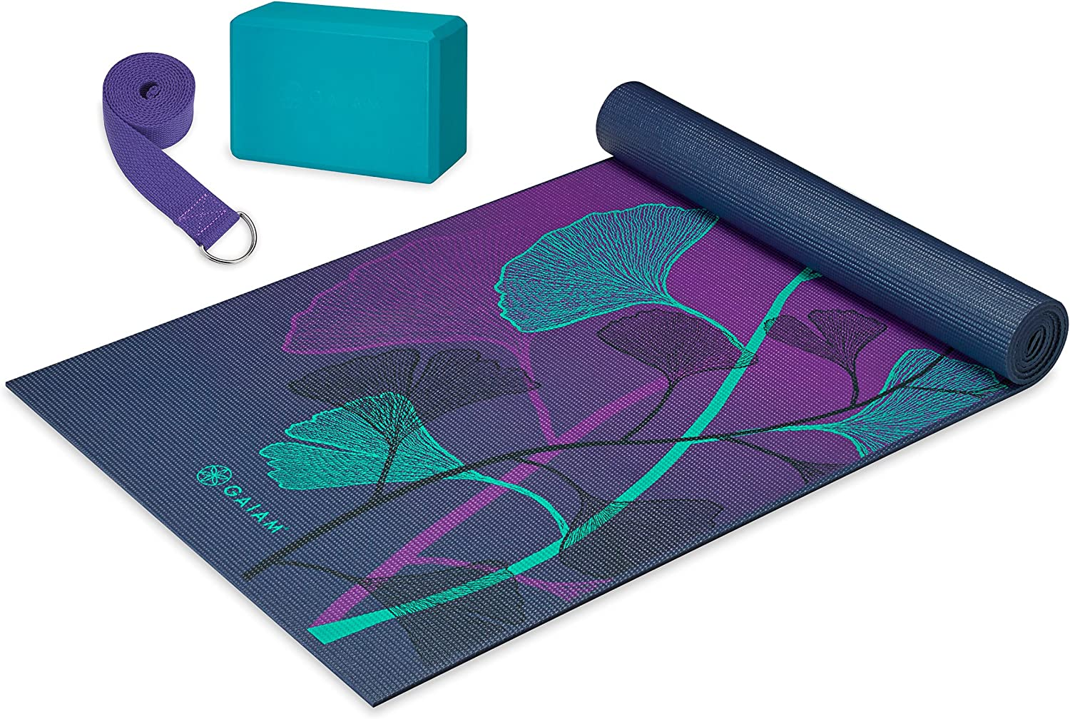 Amazon Com Gaiam Beginner S Yoga Kit Yoga Mat Yoga Block Yoga Strap Lily Shadows Sports Outdoors