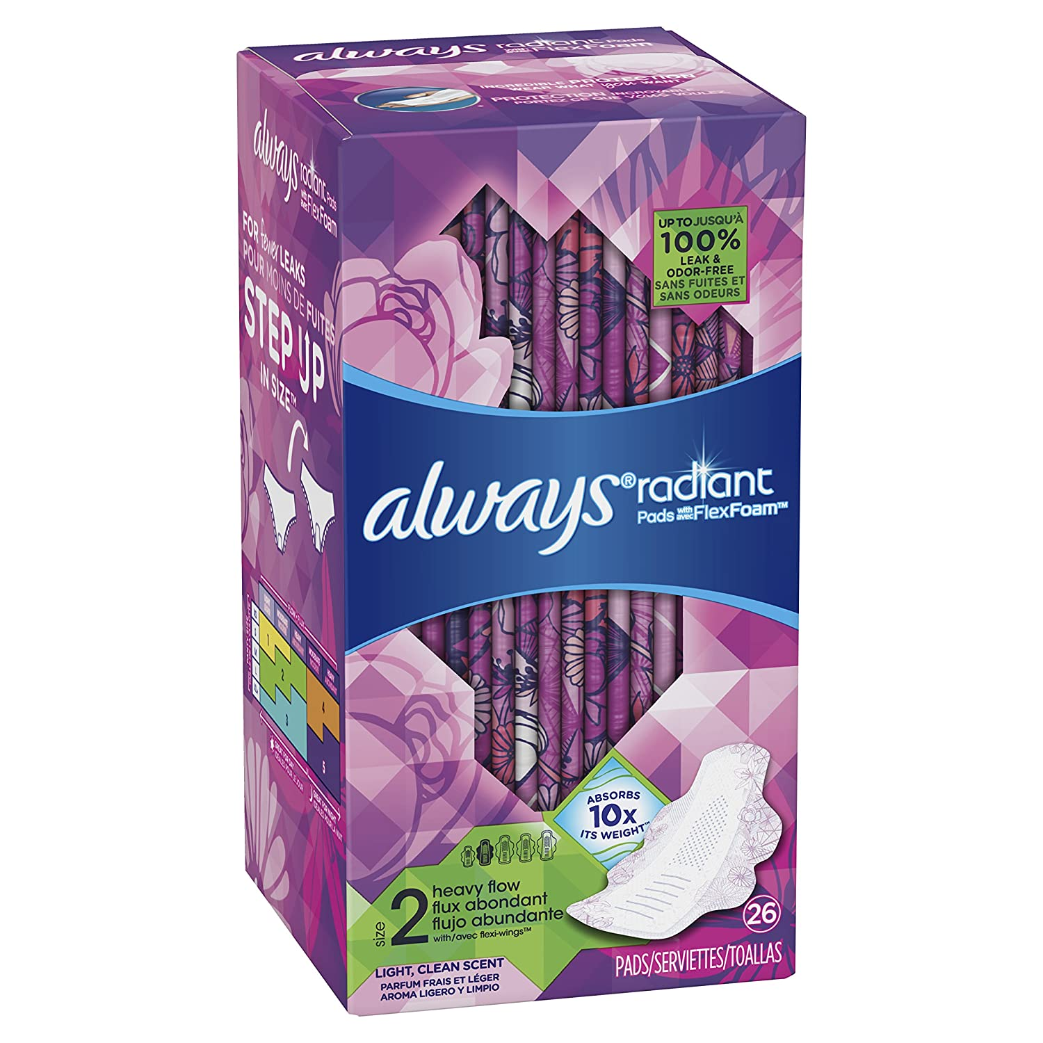 Amazon.com: Always Radiant Feminine Pads for Women, Size 2, Heavy Absorbency, with Flexfoam Wings, Light Clean Scent, 26 Count: Health & Personal Care