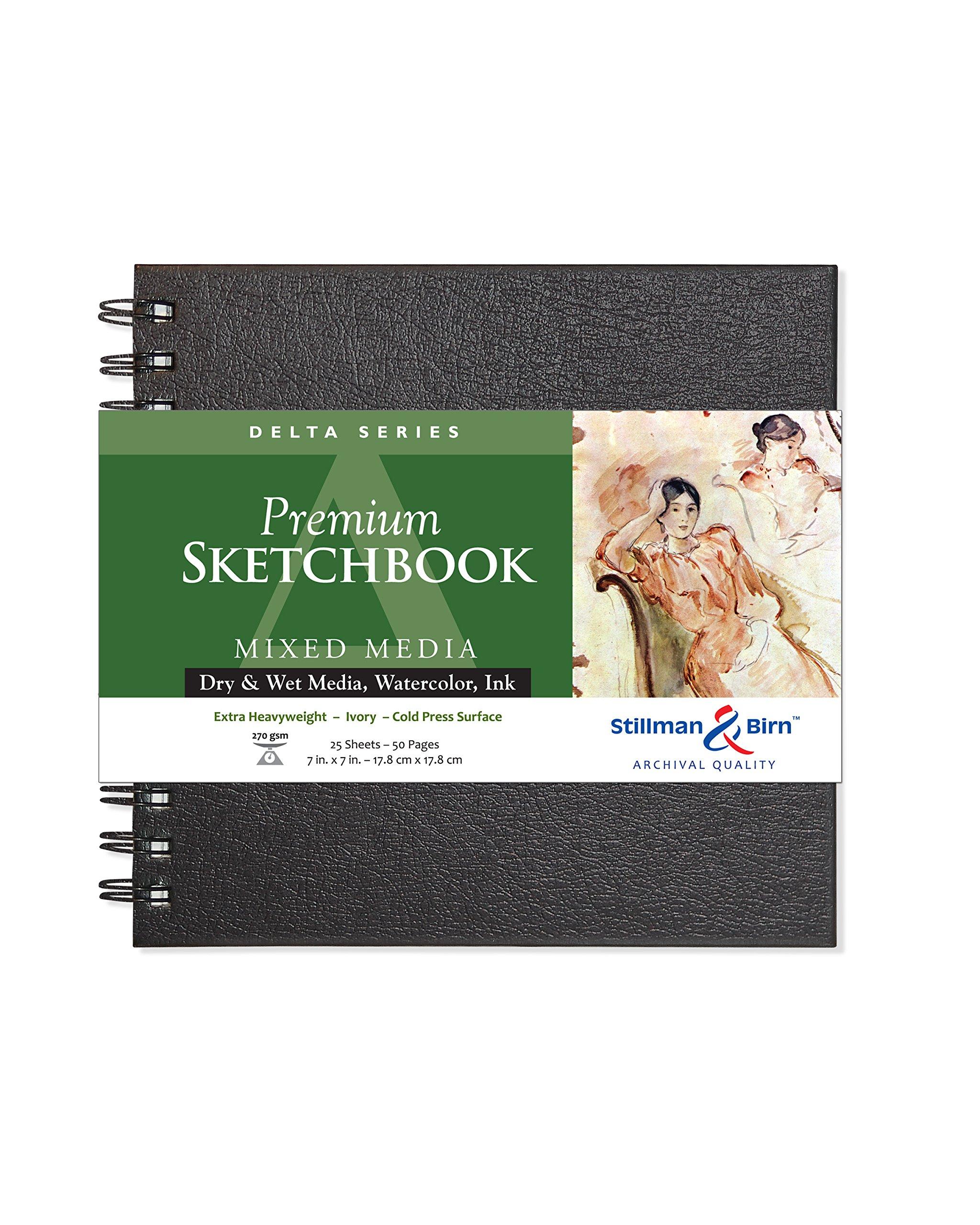 Stillman & Birn Delta Series Wirebound Sketchbook, 7'' x 7'', 270 gsm (Extra Heavyweight), Ivory Paper, Cold Press Surface by Stillman & Birn