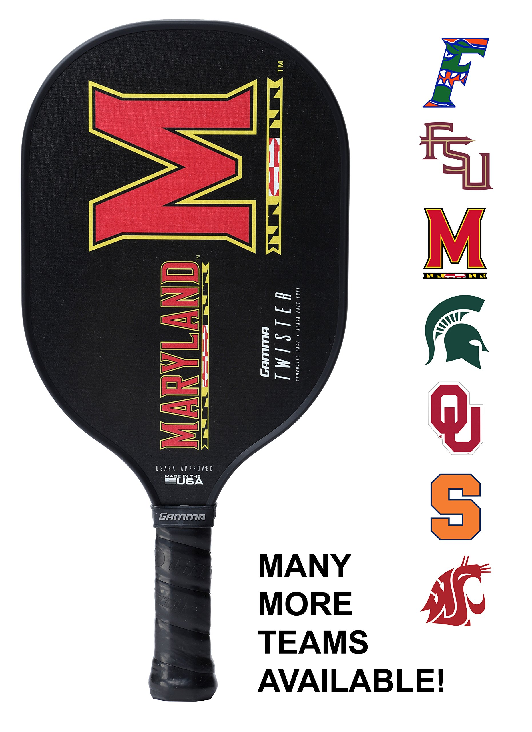 Gamma Collegiate Twister Composite Pickleball Paddle: Pickle Ball Paddles for Indoor & Outdoor Play - USAPA Approved Racquet for Adults & Kids - Maryland Terrapins