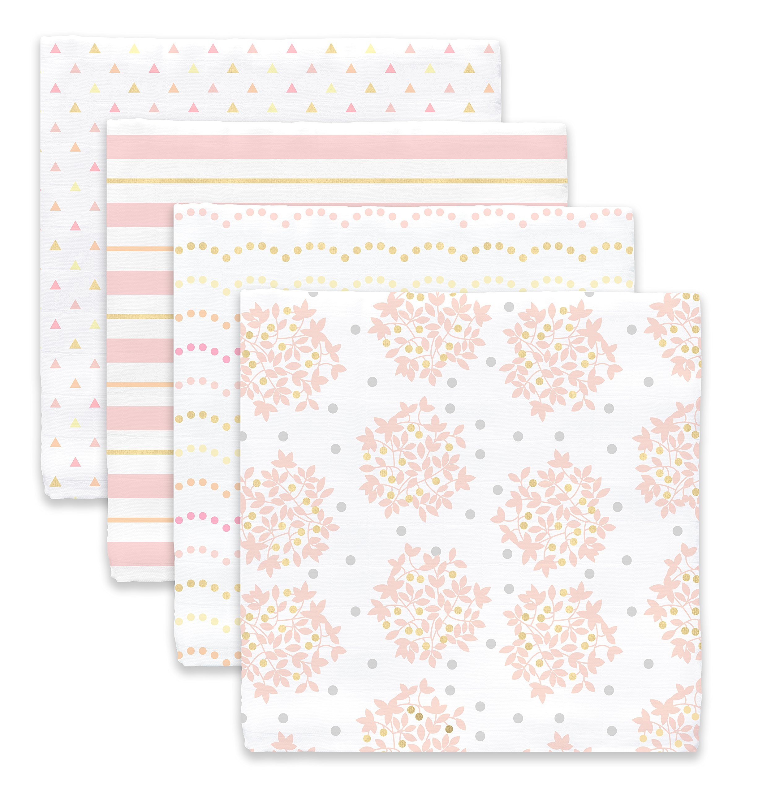 SwaddleDesigns Cotton Muslin Swaddle Blankets, Set of 4, Pink Heavenly Floral by SwaddleDesigns (Image #2)