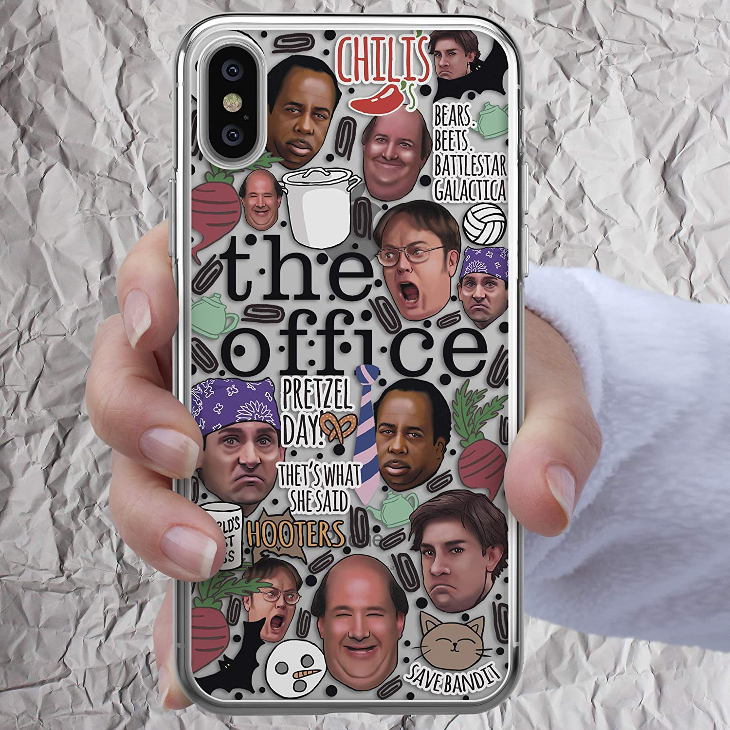 Dunder Mifflin Coffee Mug Pretzel Day The Office Tv Show Gifts Dwight Schrute Farms iPhone Xs 11 Pro Max X Xr 8 7 6s 6 Plus se 5s 5c Case Bears Beets Battlestar Galactica Cell i Phone Clear Cover
