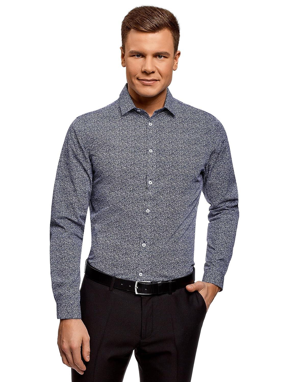 oodji Ultra Uomo Camicia Slim Fit con Stampa Grafica Fitta