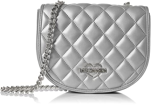 Borsa Quilted Metallic Pu Argento, Womens Bag, Silver, 6x19x29 cm (B x H T) Love Moschino