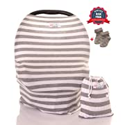 Nursing Breastfeeding Cover Scarf by ERT – Baby Car Seat Canopy, Shopping Cart, Stroller and Car seat Cover. Baby Socks Included