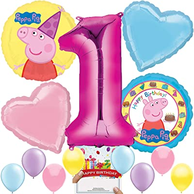 Peppa Pig Party Supplies Balloon Decoration Bundle for 1st Birthday: Toys & Games
