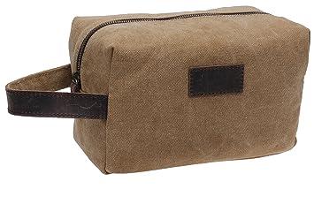 74868b0dffeb Amazon.com   Patty Both Canvas Shaving Dopp Kit Leather Travel Toiletry Bag  9.8in (coffee)   Beauty
