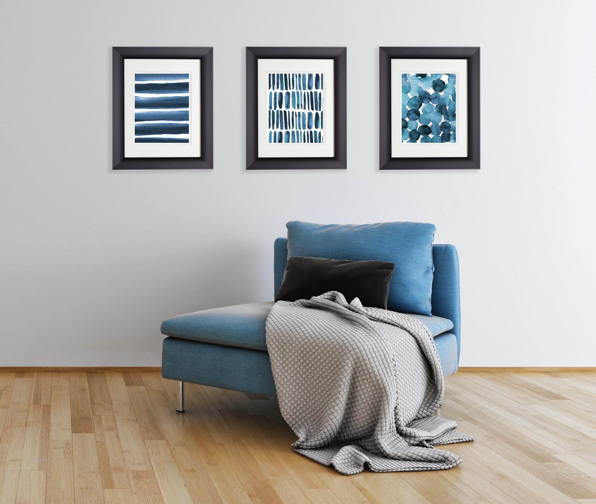 Three 8x10 Prints, Blue Watercolor Abstract Prints, By Paper Riot Co.
