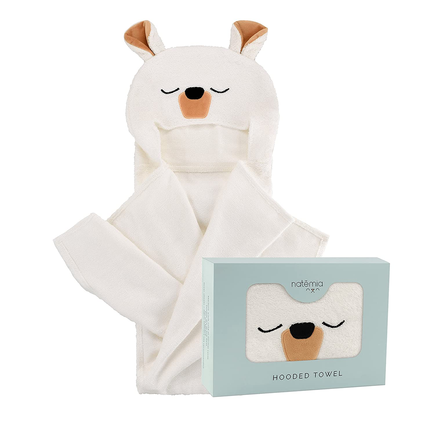 Natemia Extra Soft Rayon from Bamboo Hooded Towel for Kids | Highly Absorbent and Hypoallergenic | 40 X 30 Large Animal Face Baby Bath Towel | Great Baby Shower \ Registry Gift for Boys and Girls