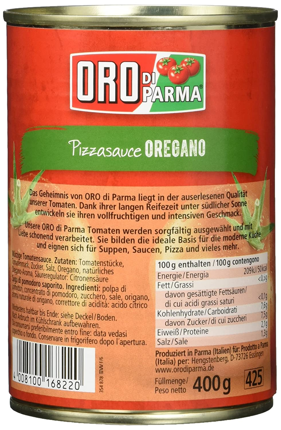 Oro Di Parma Pizza Sauce Oregano 6er Pack 6 X 400 G Dose Amazon De Lebensmittel Getranke
