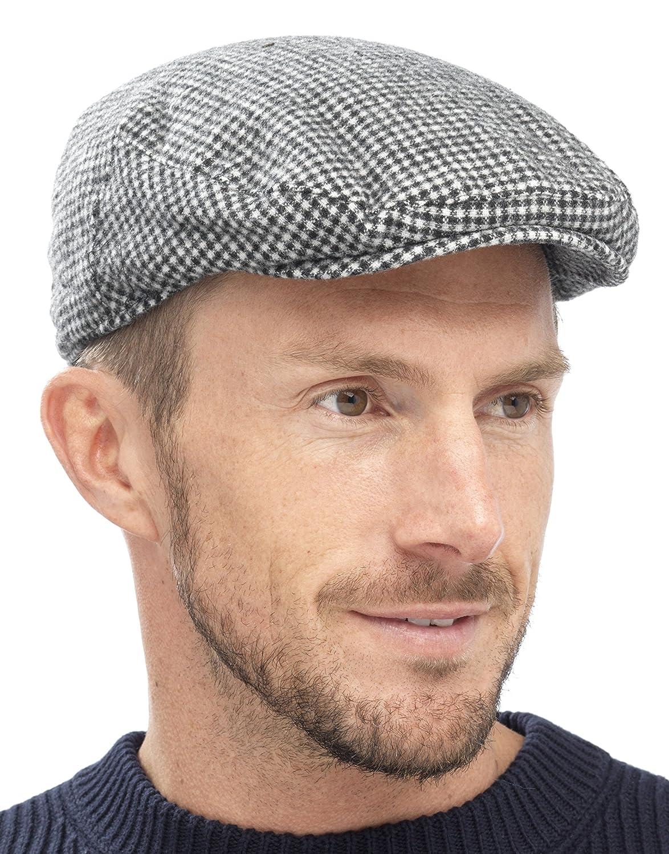 Tom Franks Mens Traditional Flat Cap Black Check L//XL