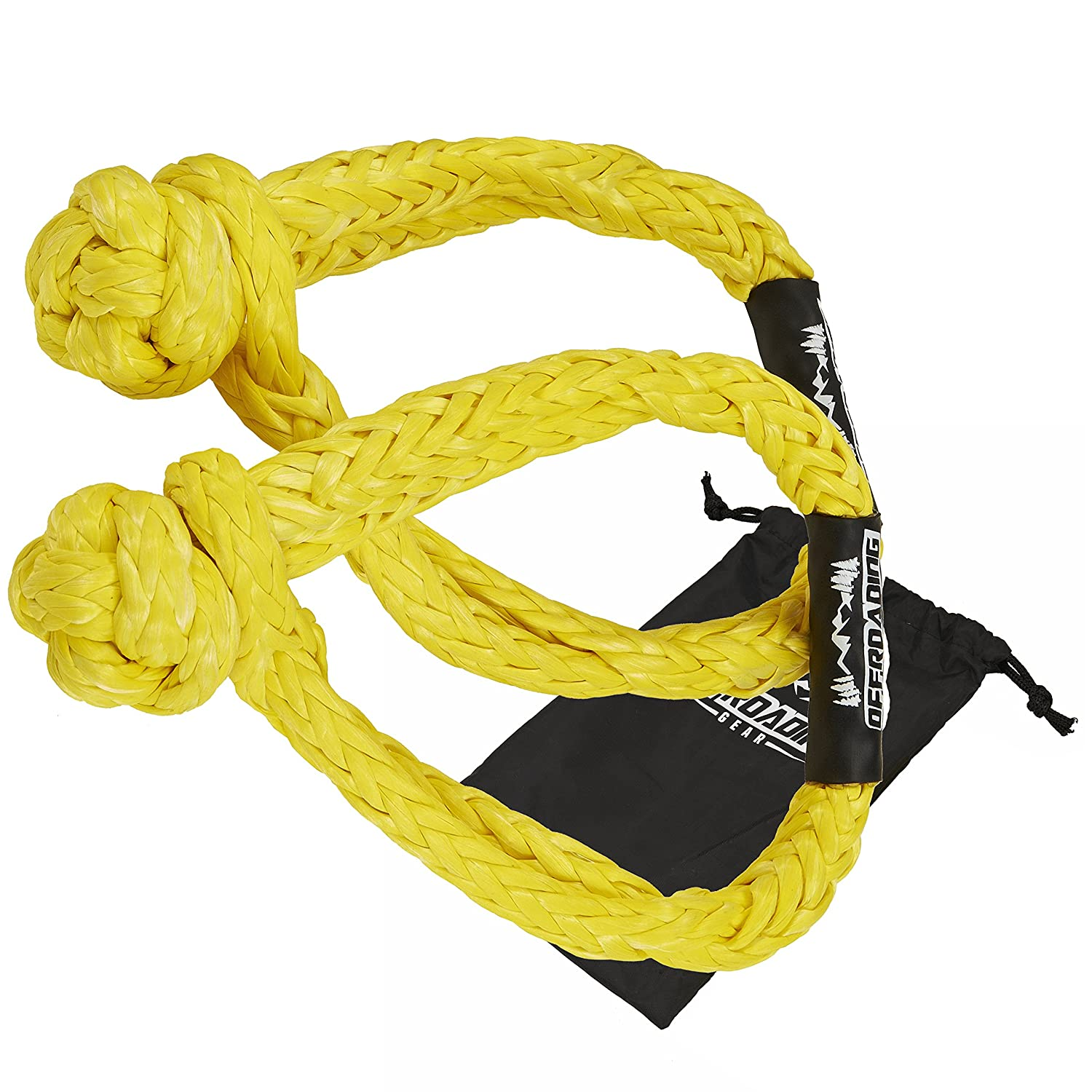 T/&HI-B07C92X9LH 30,000lbs Offroading Gear Set of Two 3//8 Synthetic Soft Rope Shackles w//Free Storage Bag