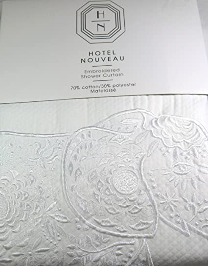 Hotel Nouveau Premium Quality Embridered Shower Curtain White With Elephant Border 72quot