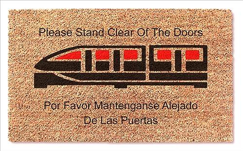 Monorail Red Train Doormat – Please Stand Clear of The Doors – Spanish Por Favor Mantenganse Alejado De Las Peurtas Fun Home Entry Front Door Mat