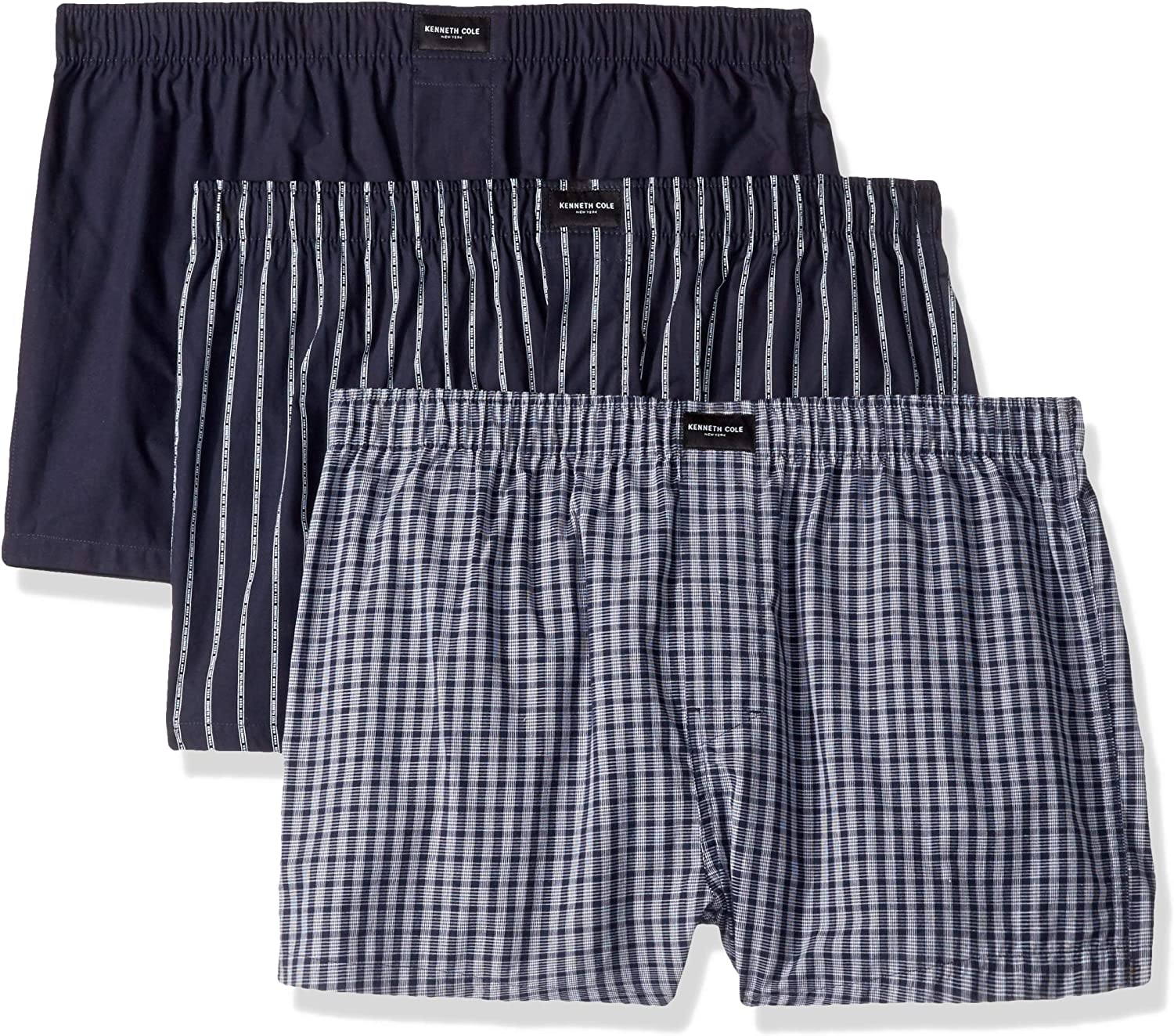 Kenneth Cole New York Men's Underwear 100% Cotton Woven Boxers, Multipack