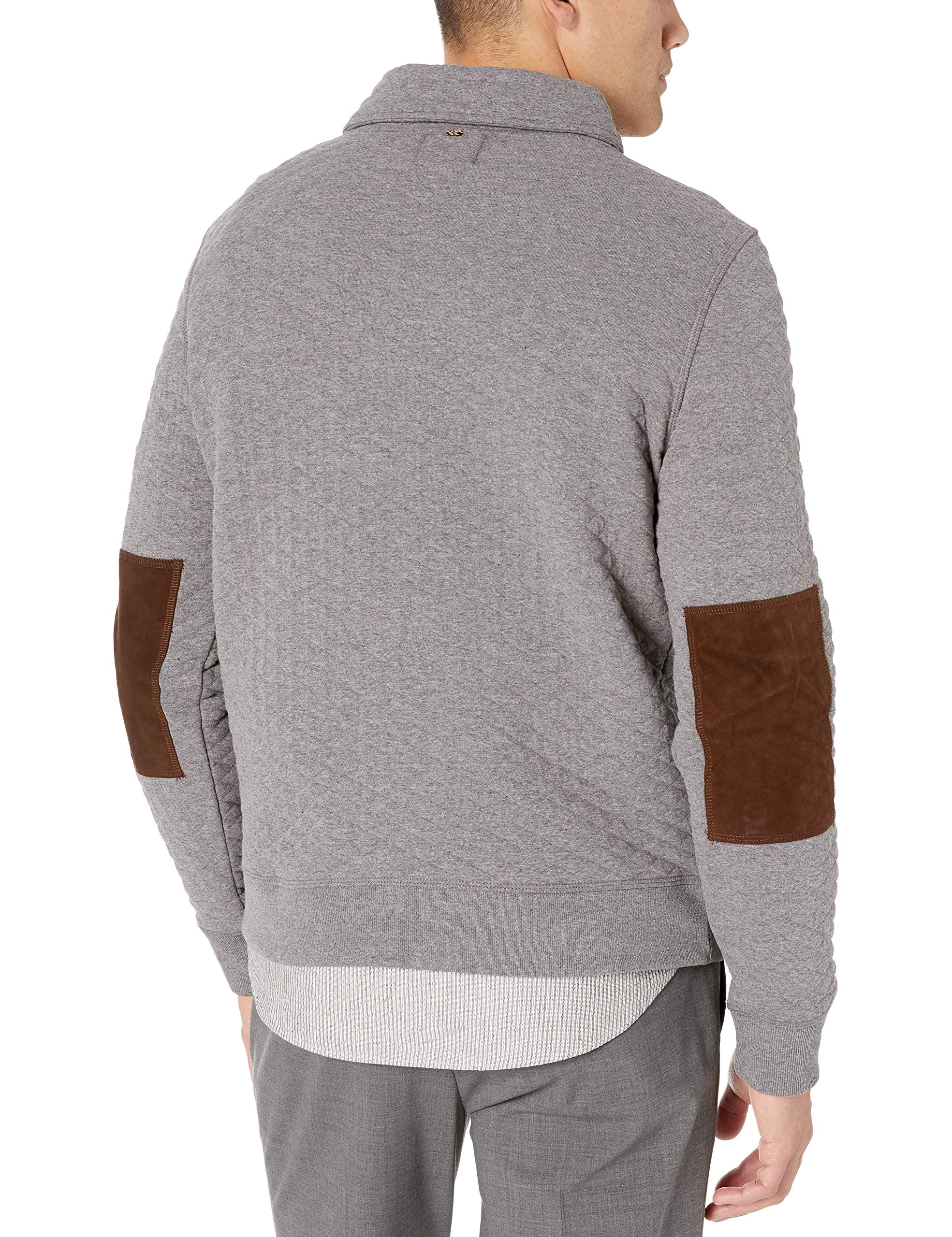 Billy Reid Mens Diamond Quilted Shawl Pullover with Suede Elbow Patches