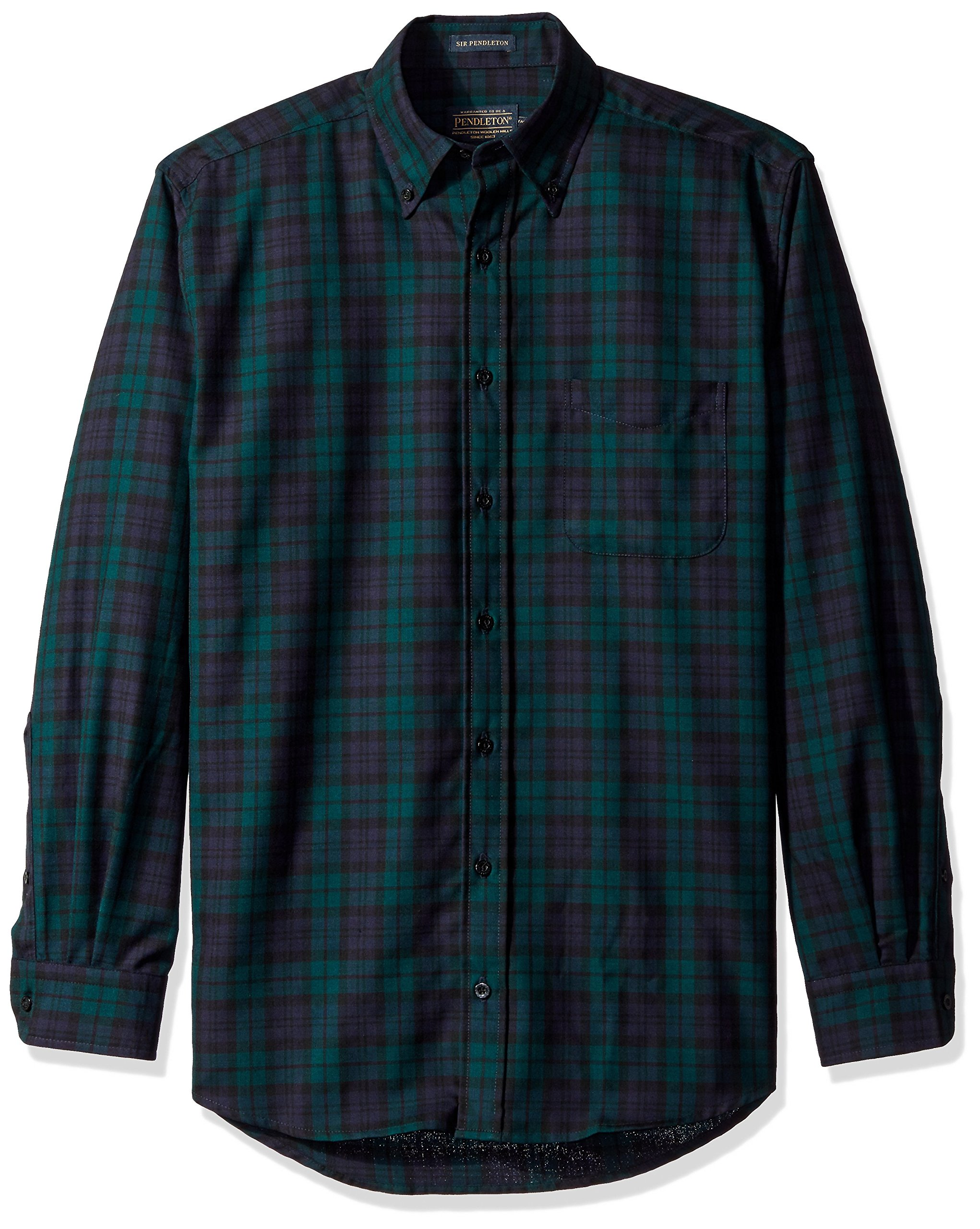 Pendleton Men's Big & Tall Long Sleeve Button Front Sir Pen Shirt, Black Watch Tartan, X-Large/Tall