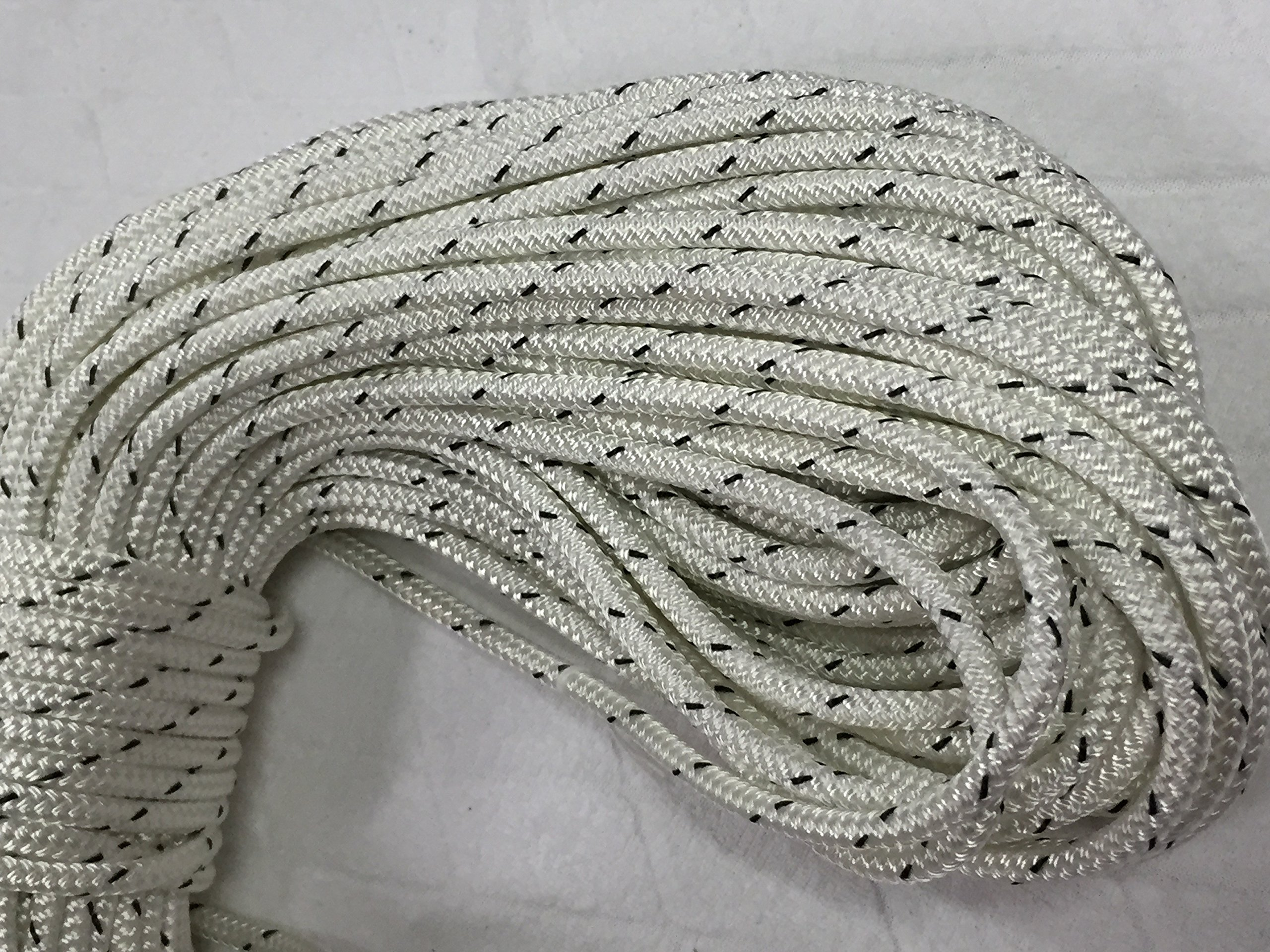 1/4'' X 150' Double Braided Polyester Rope, White/Black