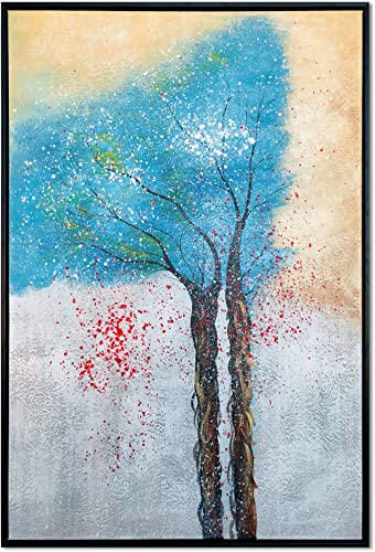 Wieco Art Framed Art Tree of Life Pure Hand-Painted Paintings on Canvas Abstract Canvas Wall Art for Living Room Bedroom Wall Decor Stretched with Black Frame AB1129-6090-BF