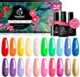 Beetles Pack of 23 Rainbow Summer Gel Nail Polish Kit, Soak Off LED Lamp Gel Nail Polish Set Glitter Nude Gel Polish Starter Kit with Glossy & Matte Top Gel Base Coat Kaleidoscope Collection Nail Art Christmas Gifts Set