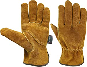 KIM YUAN Waterproof Leather Work Gloves, 1 Pairs Thorn Proof Gardening Gloves, Heavy Duty Rigger Gloves for Gardening, Fishing, Construction and Restoration Work & More (Large)