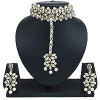 PADMAWATI BANGLES White Crystal Kundan Pearl Choker Necklace Dangler Earrings Mang Tikka Jewelry Set for Women