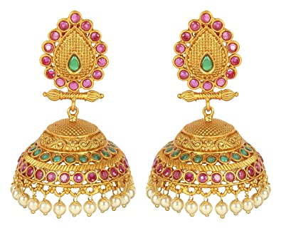 {Special 20% Discount} MuchMore Amazing Style Ruby Pearl Stone Polki Earrings Partywear Jewellery zcvL0TD
