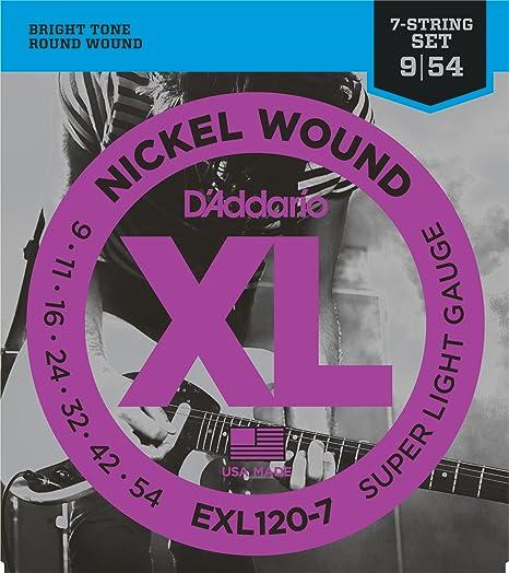 DAddario EXL120-7 - Juego de cuerdas para guitarra eléctrica de níquel,