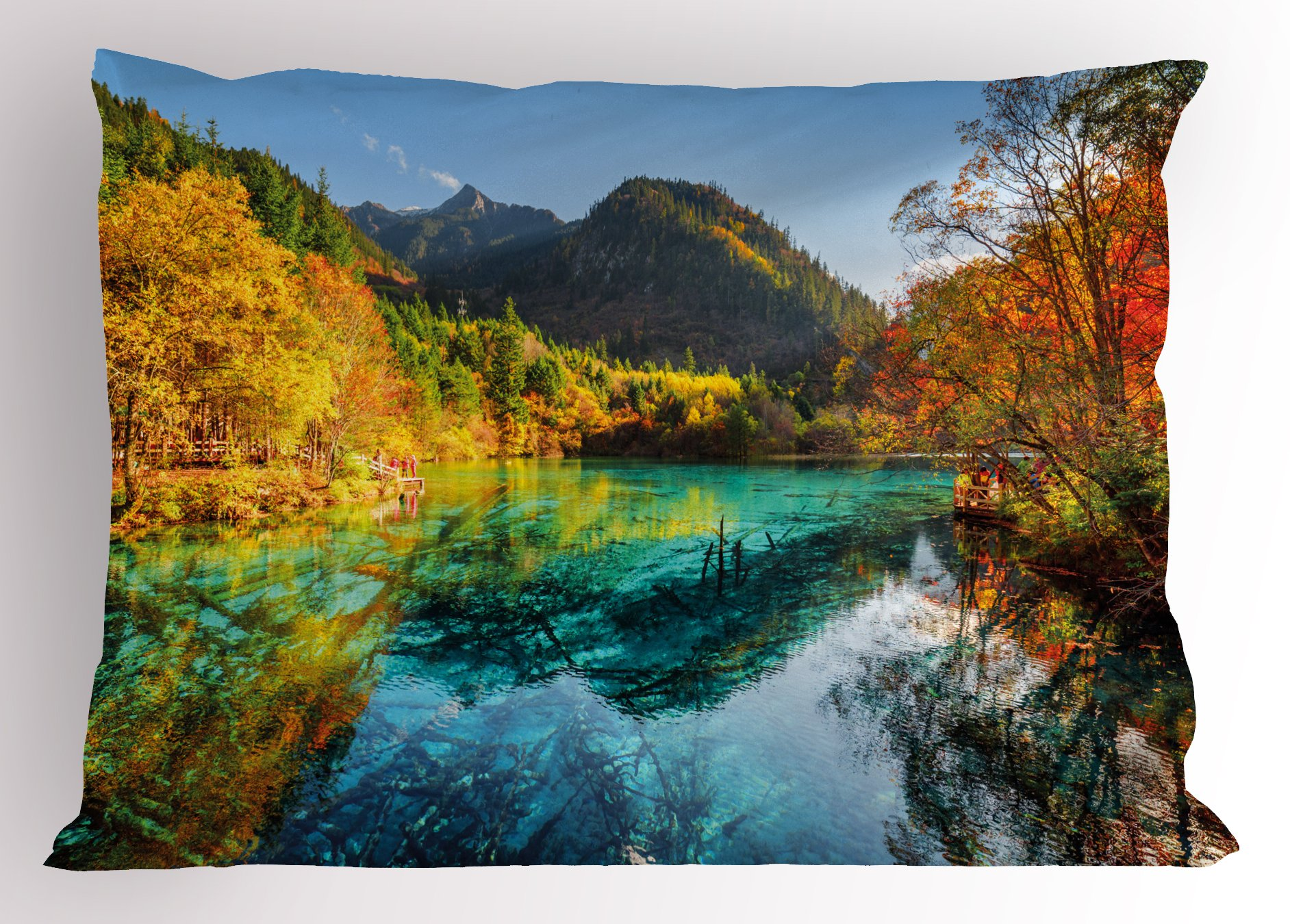 Lunarable Landscape Pillow Sham, Colorful View of Five Flower Lake with Azure Water Among Fall Woods in Jiuzhaigou, Decorative Standard Size Printed Pillowcase, 26 X 20 inches, Multicolor by Lunarable (Image #1)
